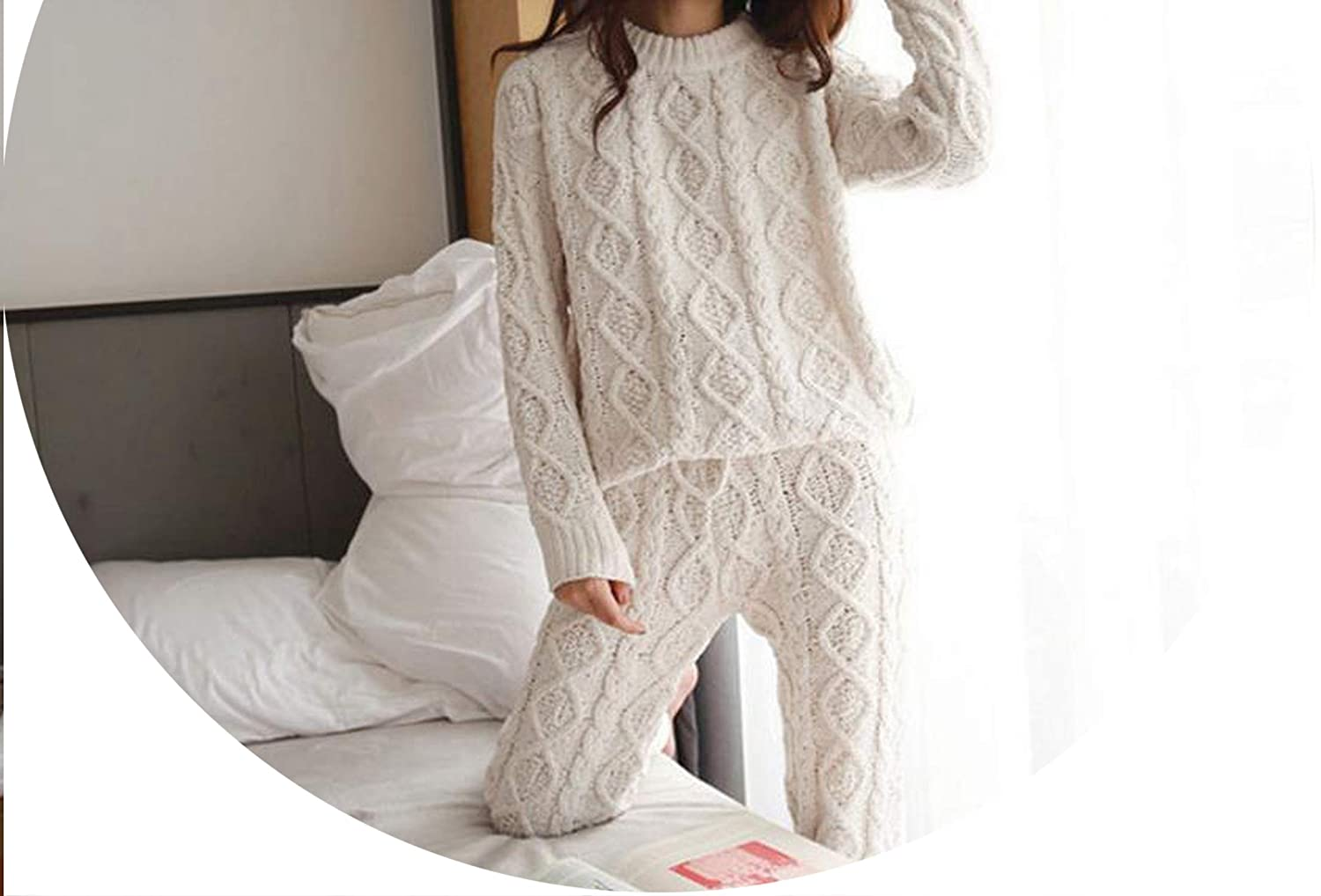 White Autumn Cottonwomen 2 Two Piece Set Sweater Top+Pants Knitted Suit O Neck Twinset Outwear