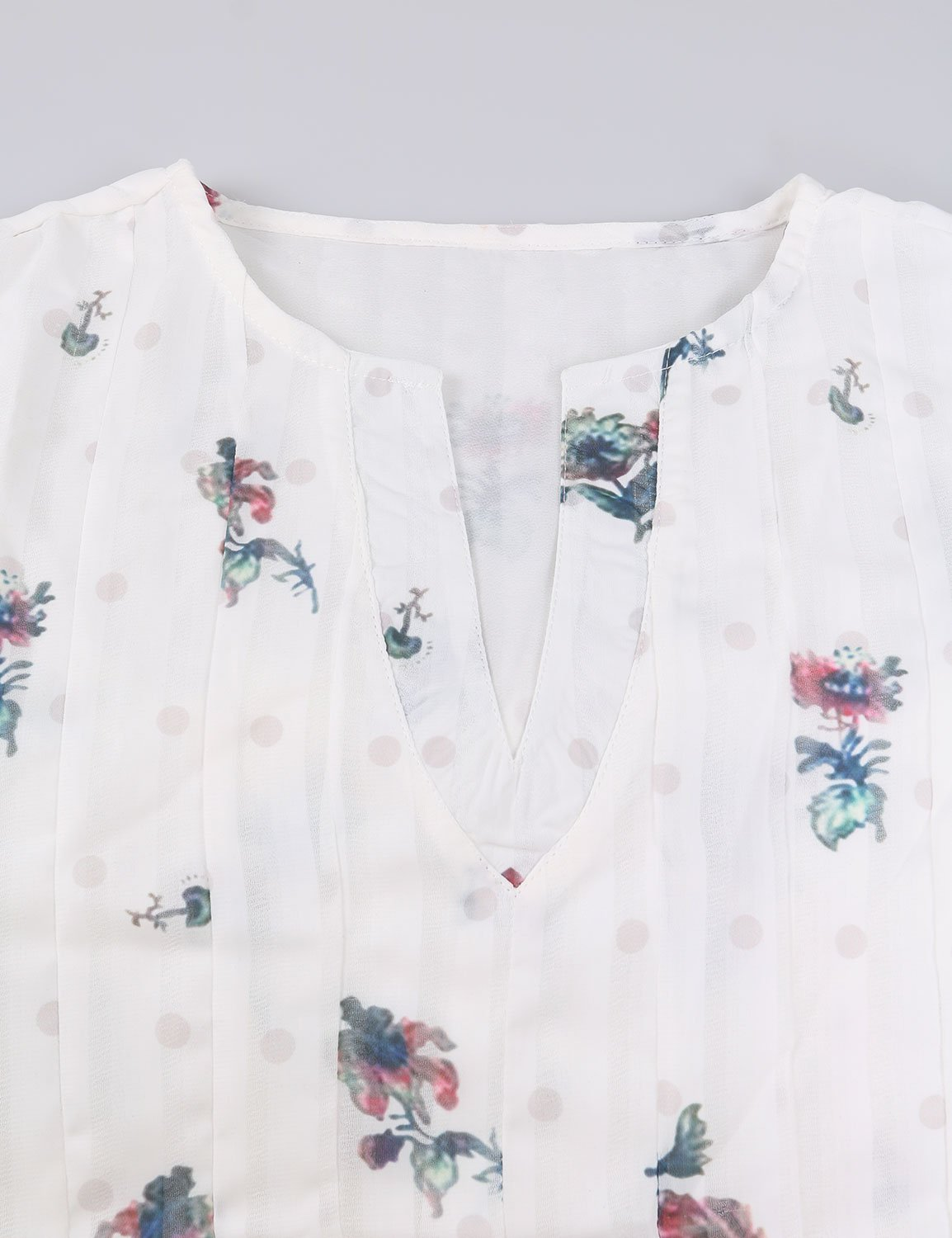 WLLW Women Bohemian Short Sleeve V Neck Floral Print T Shirt Tops Blouse Tee,White M by WLLW (Image #2)
