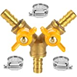 Da by Hose Barb Ball Valve 3/8' Brass Fitting Y Shaped 2 Switch 3 Way Connector for Hose ID 10mm-11mm (Standard)
