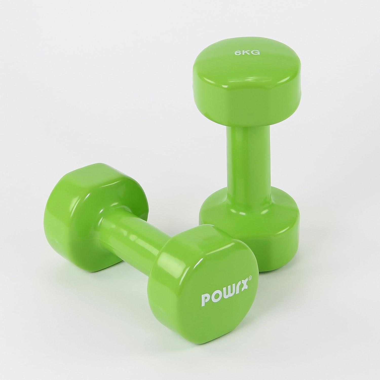 POWRX - Mancuernas Vinilo 12 kg Set (2 x 6 kg) + PDF Workout (Verde Claro): Amazon.es: Deportes y aire libre