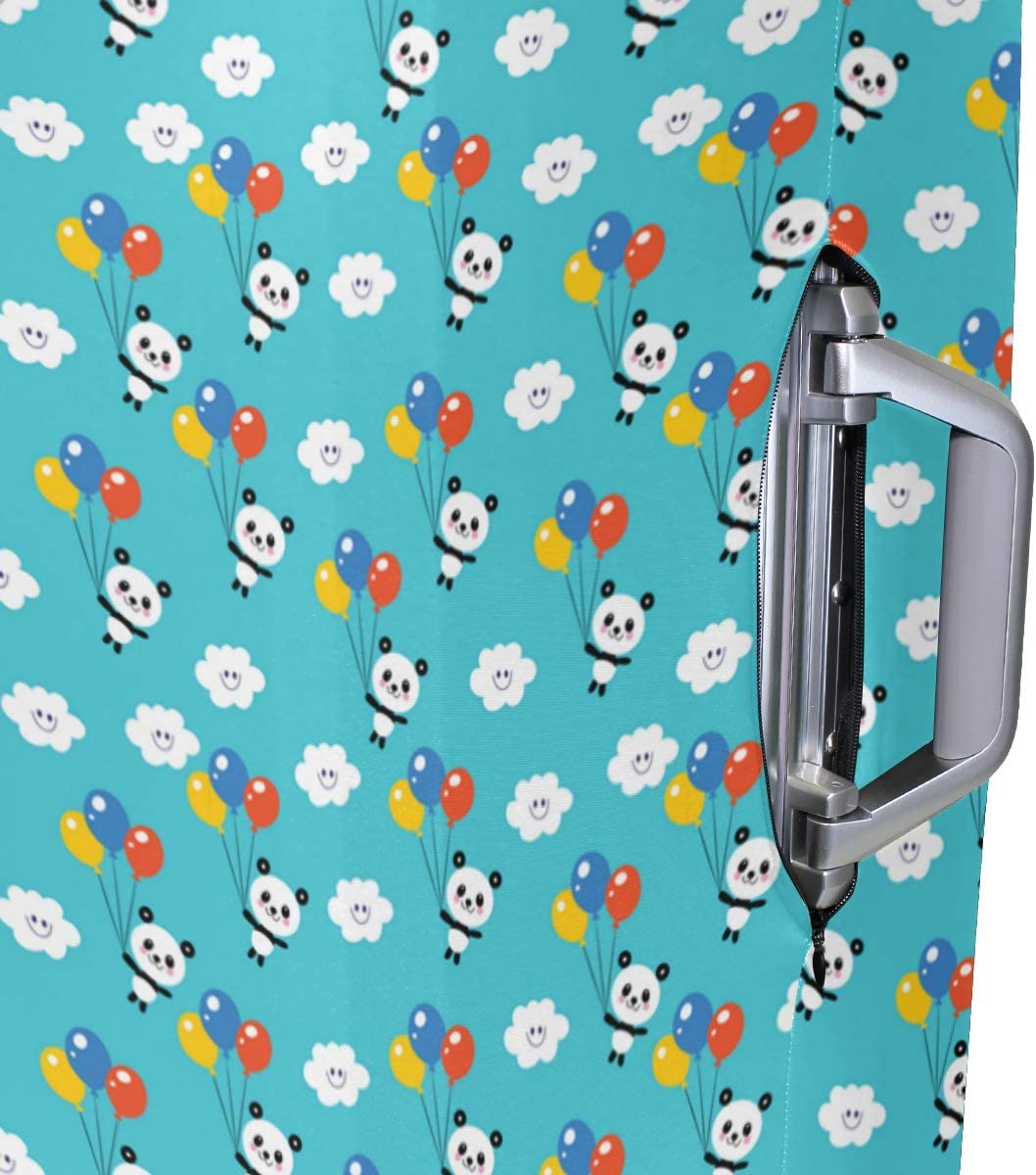 Fashion Travel Panda With Balloon In Sky Blue Luggage Suitcase Protector Washable Baggage Covers