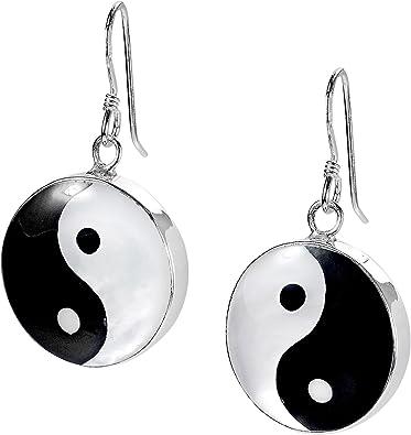 Lovely Black And White Yin Yang 13 mm Earring Studs 1 pair