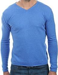5b10786463e2b4 Balldiri 100% Cashmere Kaschmir Herren Pullover 2.fädig V-Ausschnitt ohne  Bündchen blau