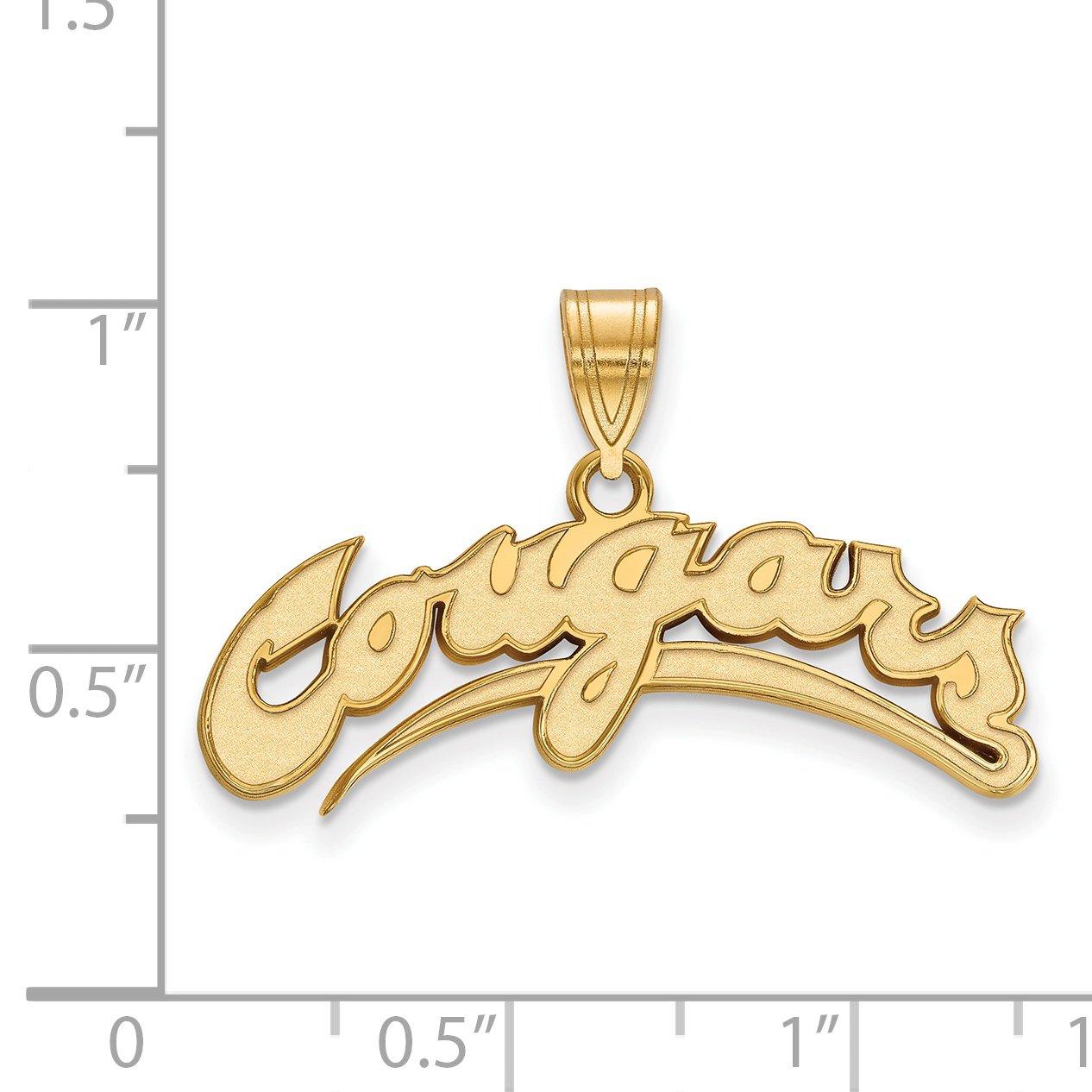10k Yellow Gold Washington State WSU Cougars School Mascot Name Pendant 11x30mm