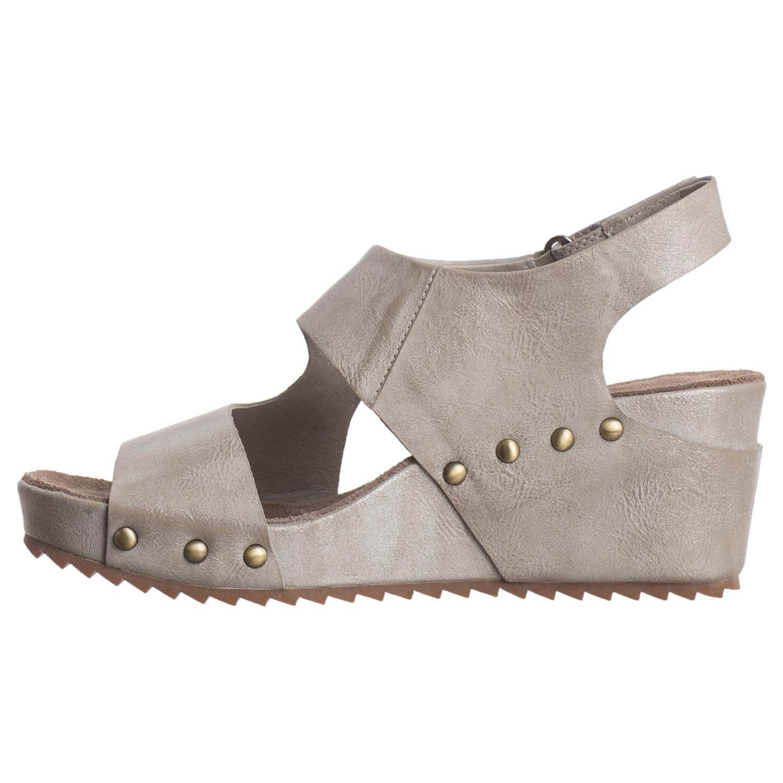 Antelope Women's 537 Metallic Leather Side Cut Wedge B079GB1ZGP 5 B(M) US / 36 EU|Grey
