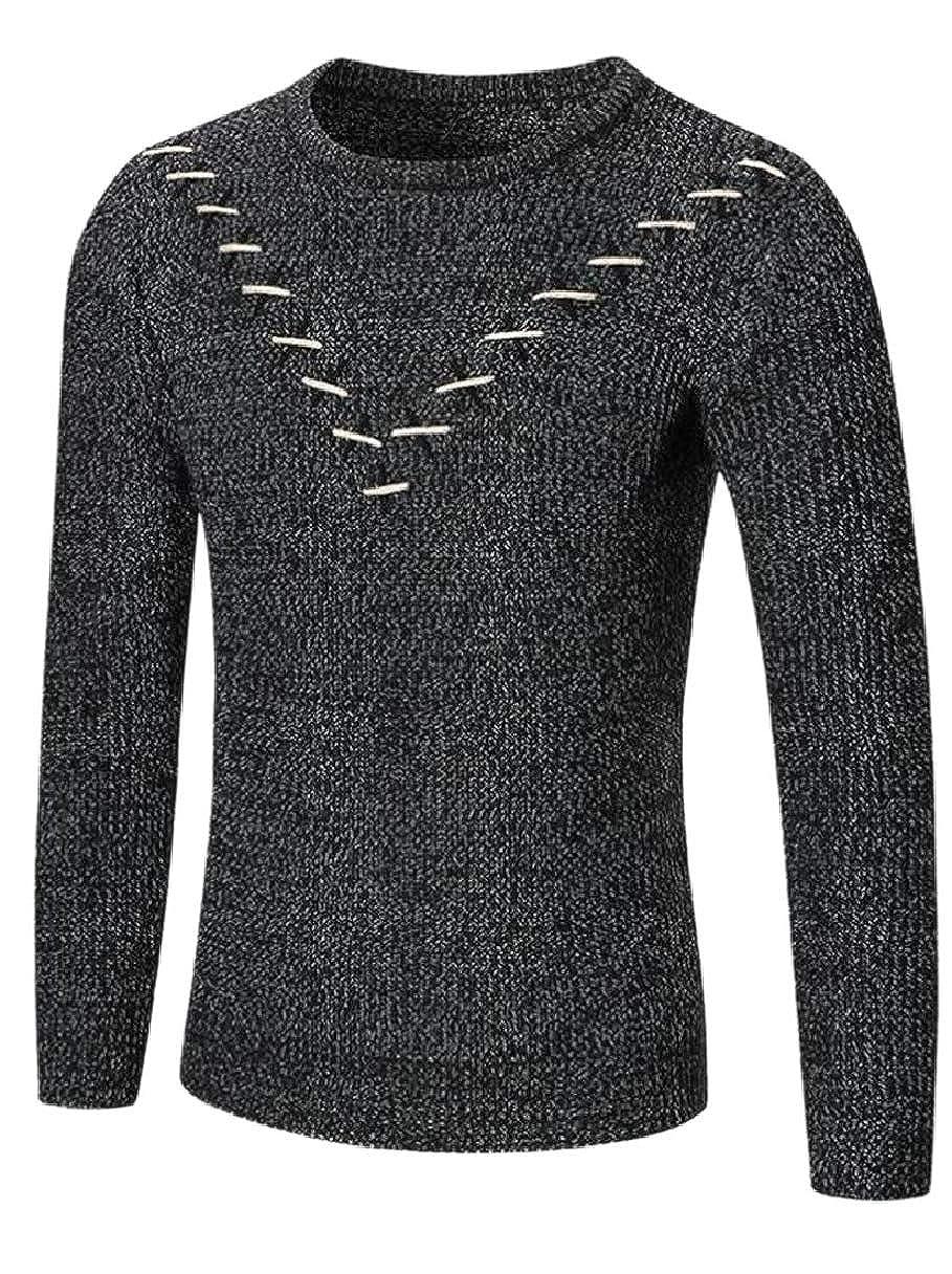 ZXFHZS Mens Knits Pullover Jumper Scoop Neck Slim Solid Sweater