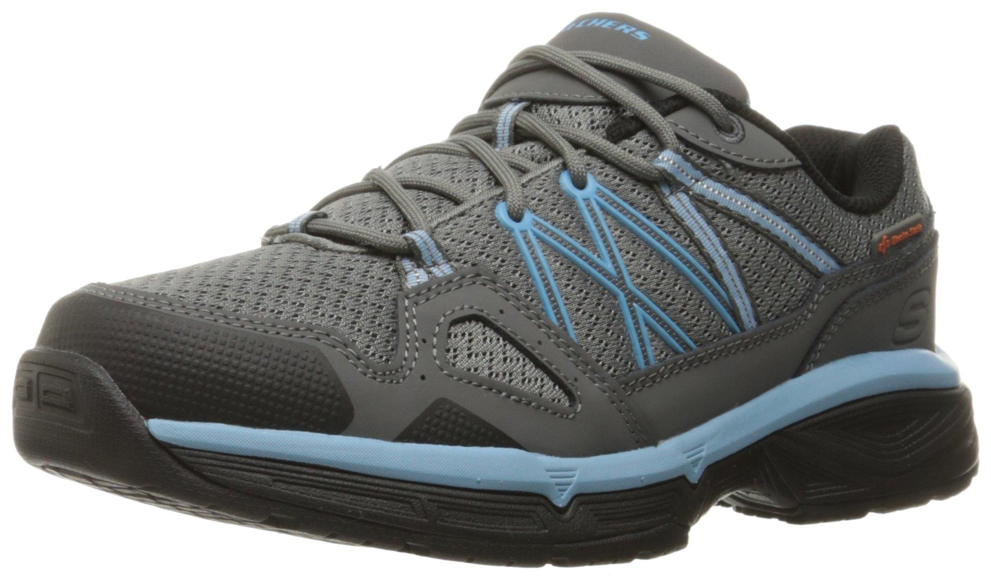 Skechers for Work Women's Conroe Abbenes Work Shoe,Gray/Blue,6 M US