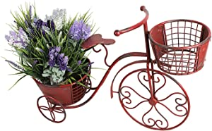 "Tricycle Plant Stand Bicycle Planter, Iron Plant Stand Flower Pot Cart Holder Indoor Outdoor Home Garden Patio Decor, 27.5"" x 9.8"" x 18.5"""