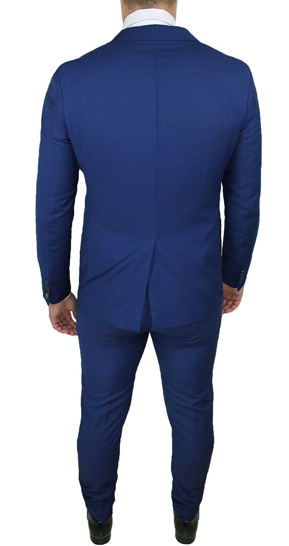 Abito Completo Uomo Sartoriale Blu Elegante con Gilet e Cravatta in Coordinato