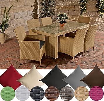 CLP Salon de jardin AVIGNON résine tressée (table 180 x 90 cm x 6 x ...