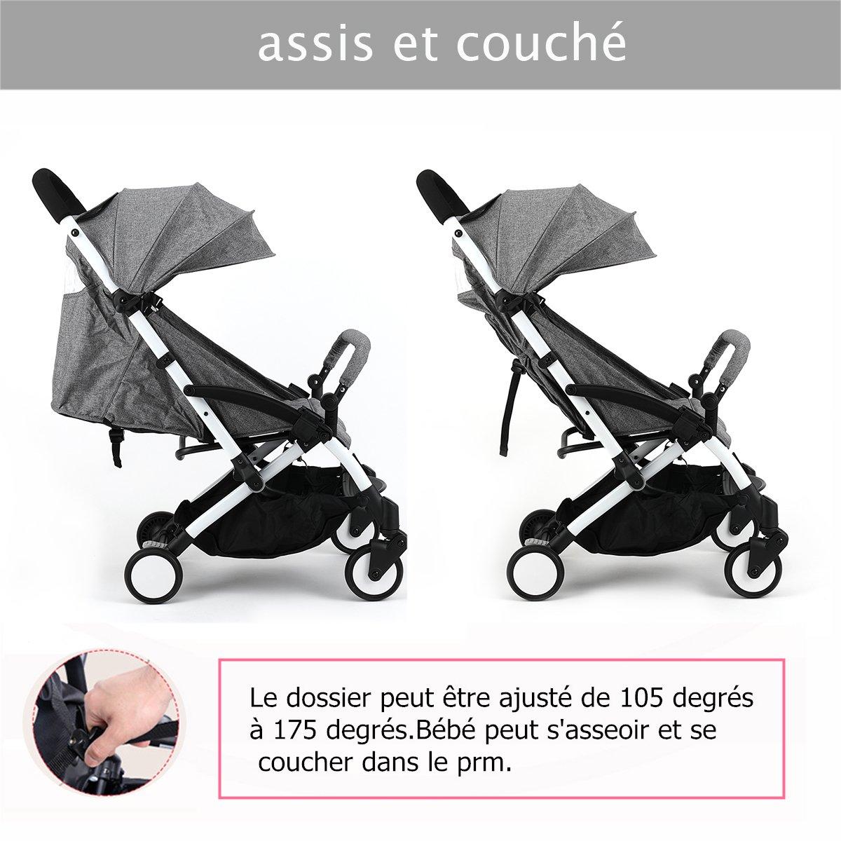sillas de paseo ligeras carritos de bebe plegable carro bebe de viaje por 0-5 años (Gris): Amazon.es: Bebé