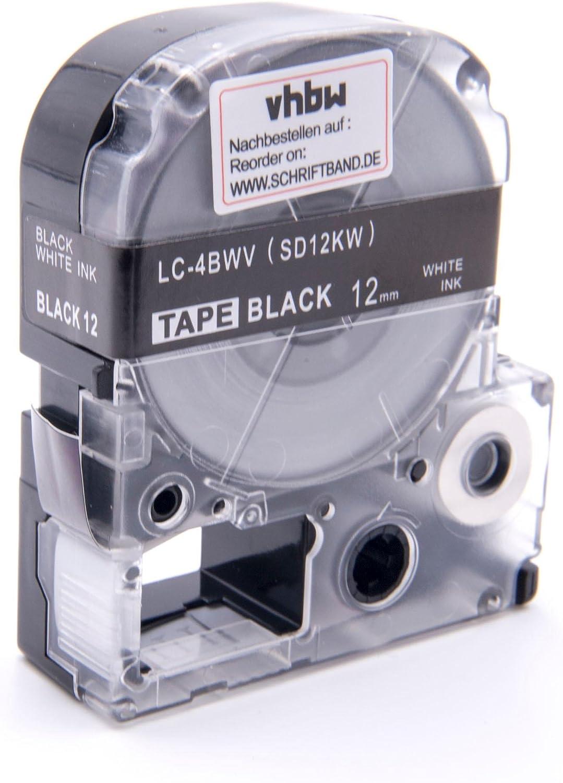 LW-500 LW-400 LW-900P wie LC-4BWV SD12KW. vhbw Kassette Patronen Schriftband 12mm f/ür Epson LabelWorks LW-300
