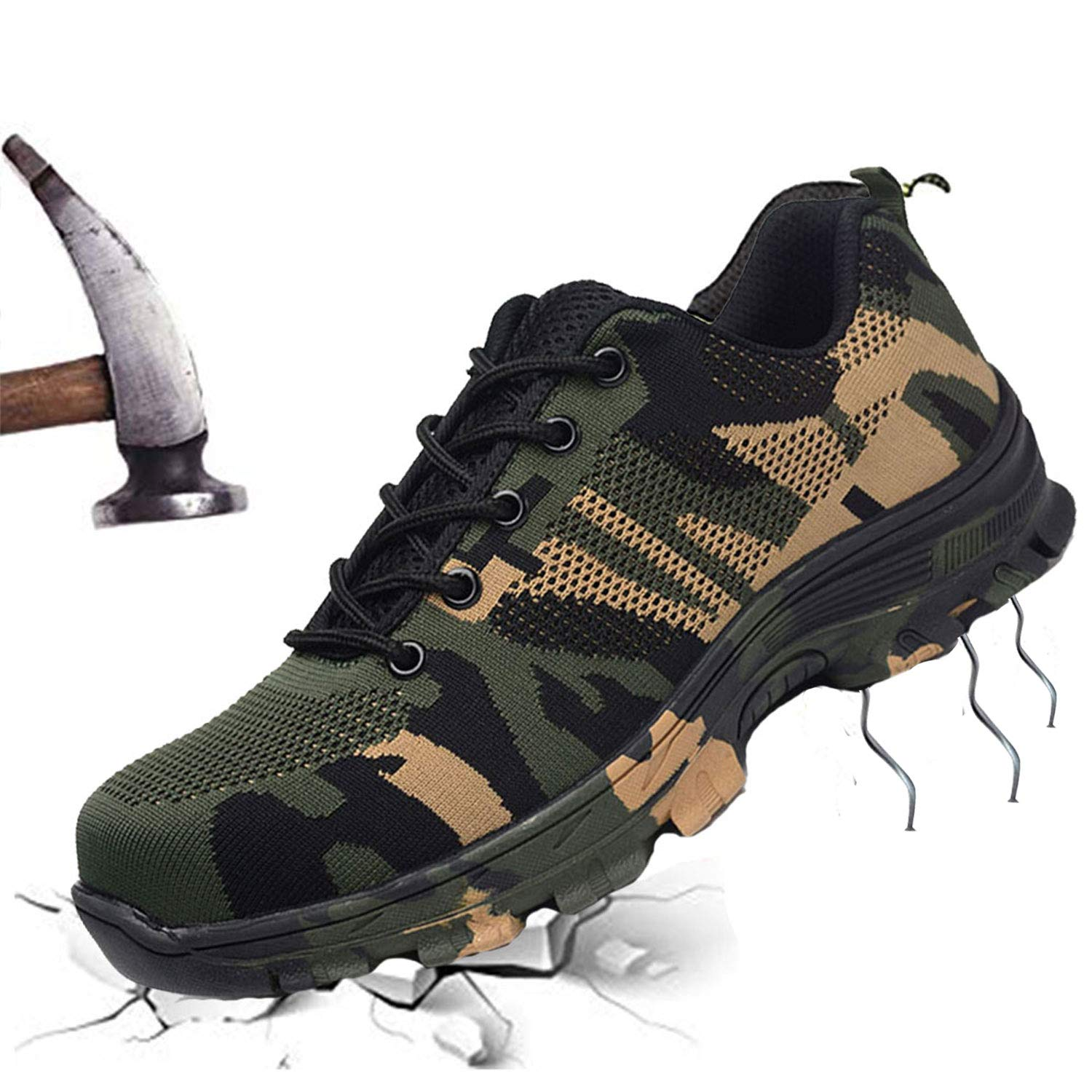 JACKSHIBO Steel Toe Shoes Men Women, Work Safety Shoes Breathable Industrial Construction Shoes Outdoor Hiking Shoes Camouflage Green