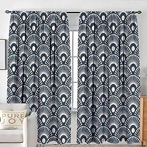 "NUOMANAN Decor Room Darkening Wide Curtains Geometric,Ancestral Hand Fan Design Far Eastern Culture Inspirations Ornamental Motifs,Dark Blue Cream,Insulating Room Darkening Blackout Drapes 54""x84"""