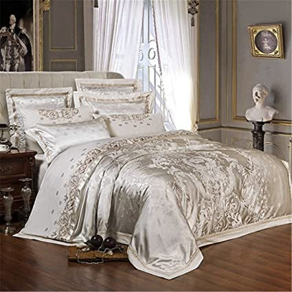 Royal Luxury Silk Cotton Duvet Cover Bedding Sets Queen King Sizes Fast Shipping