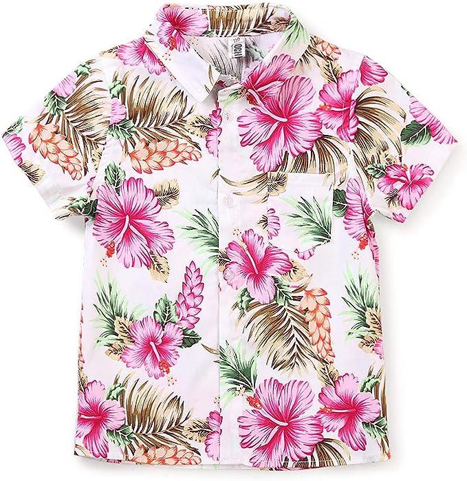 Camisa hawaiana de manga corta con botones rosa para niño grande: Amazon.es: Ropa y accesorios