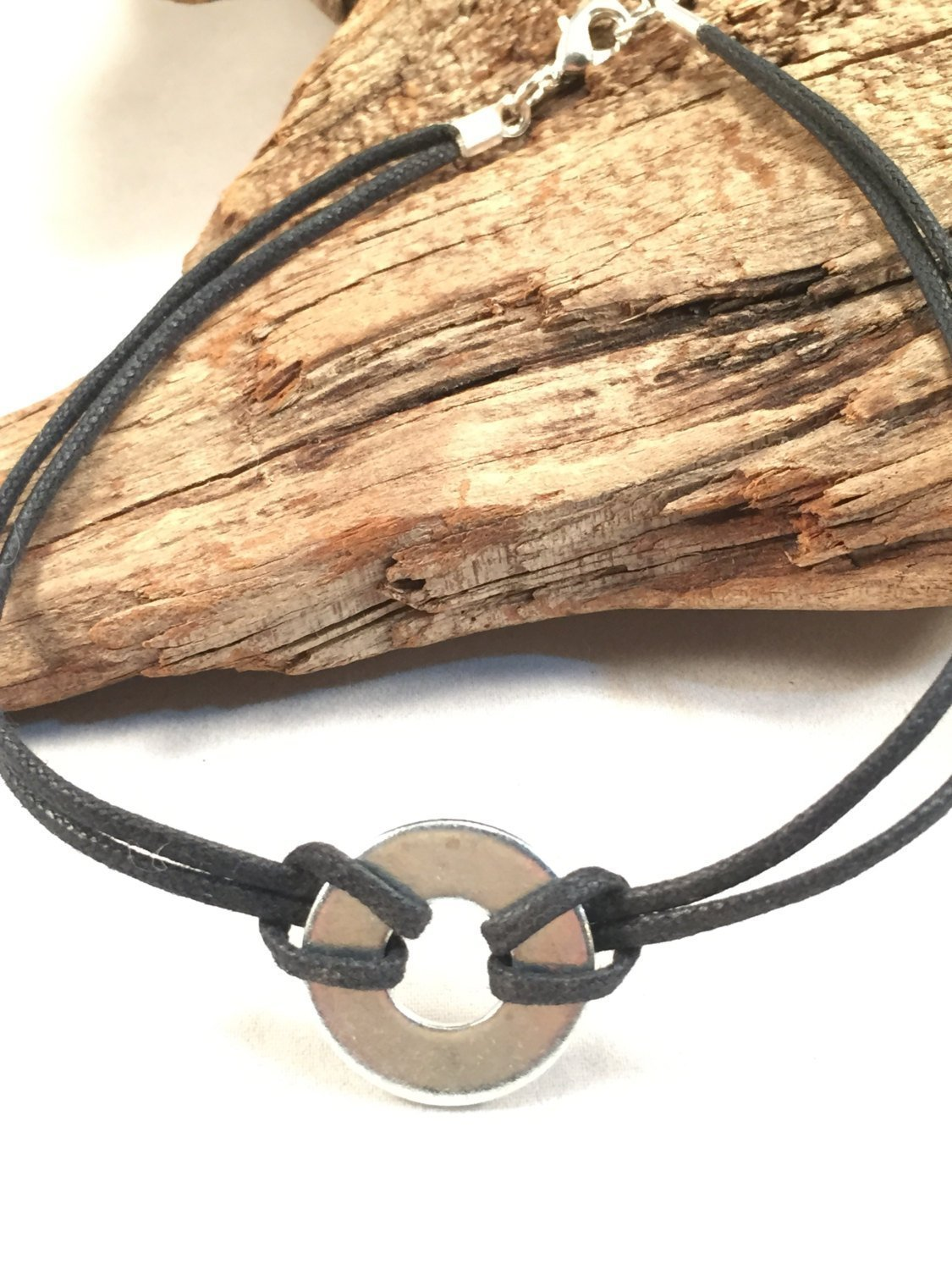 Boho Black and Silver Tone Washer Choker Necklace Cotton or Leather Cord