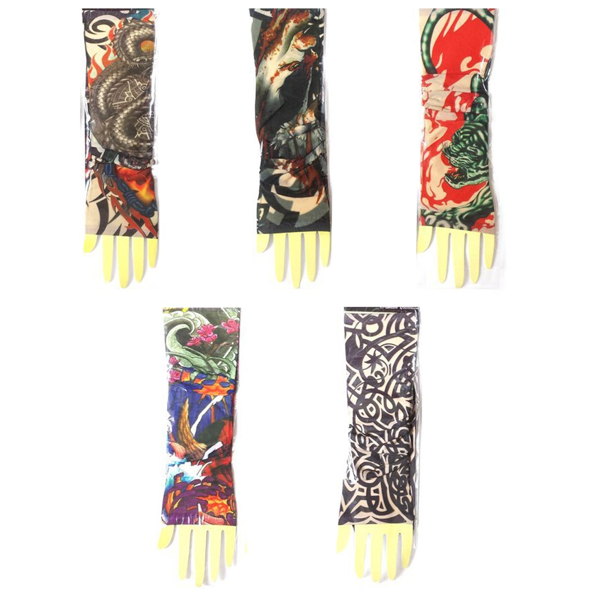 Hot 5 Pair (10 Fake) Seamless Temporary Tattoo Sleeves Body Art Arm Stockings for sale