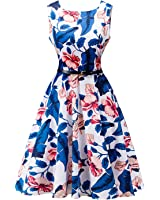 Robin Santiago 2017 Summer Dress Women Cotton Floral Print 50S 60S Vintage Dress Sleeveless Elegantdress