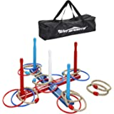 Premium Wooden Ring Toss Game Set – Throwing Game Indoor Outdoor Games for Kids & Adults – Includes Wood Base,8 Ropes…