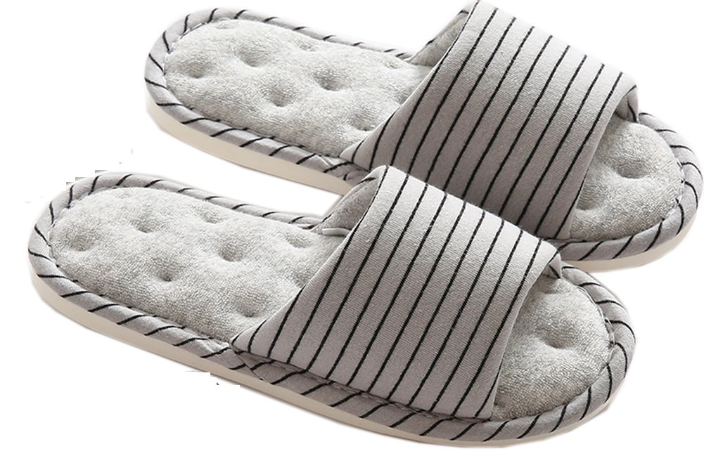 Lijeer Indoor Home Slippers Memory Foam Men Women Cotton Cozy Massage Flax House Casual House Striped Slide,Gray,US7 to7.5