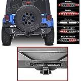 "GSI 07-16 Jeep Wrangler JK Rear Bumper with Swing Tire Carrier, Smoke Lens 3rd Brake LED Light bar, 2"" Hitch Receiver, 2x D-Ring (Black)"