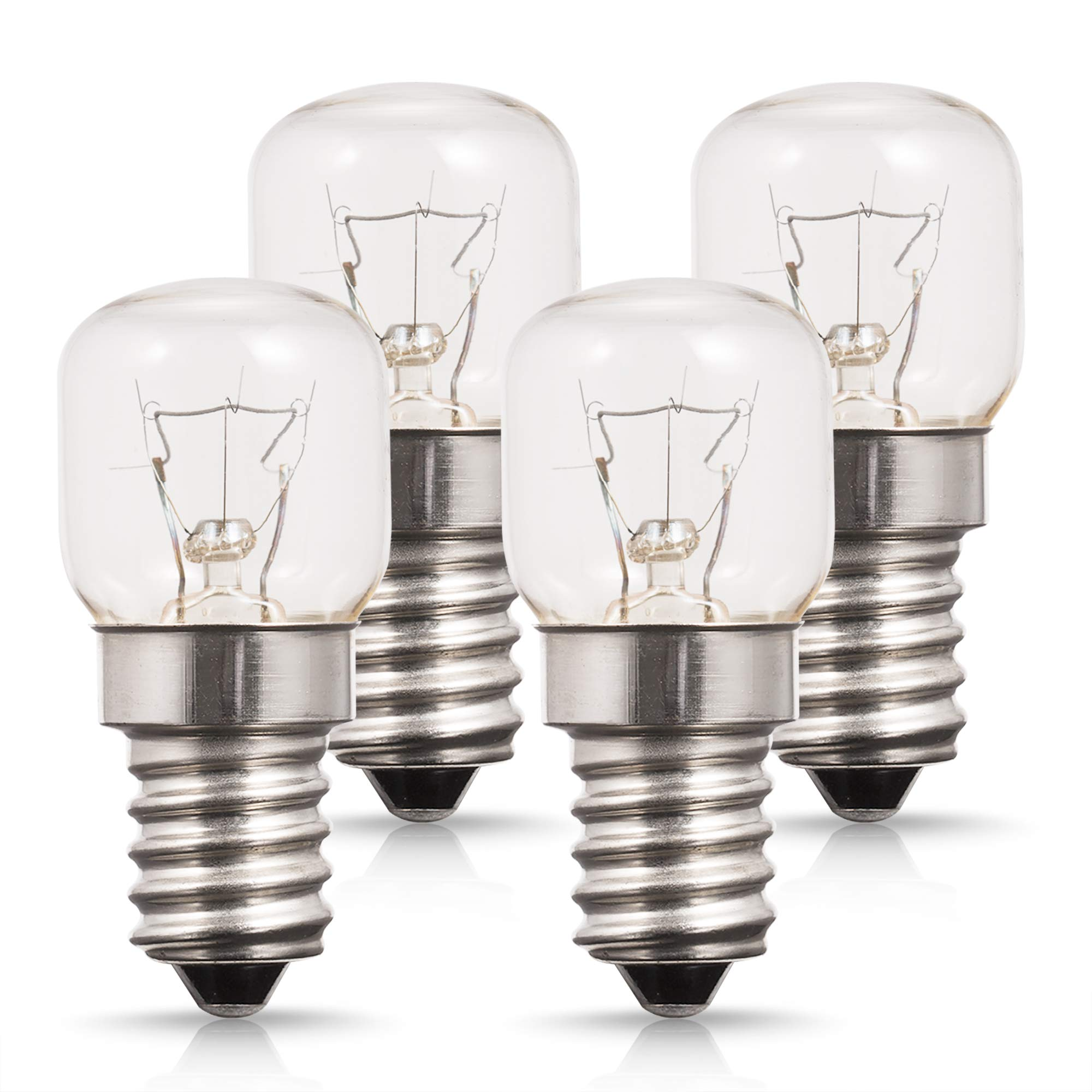 4X Incandescent Bulb, Techgomade E14 Small Edison Screw Base, Oven Light Bulbs, Tungsten Light, up to 300 Degrees 25W Incandescent Bulb, 2700K Warm White, Non-dimmable [Energy Class C]