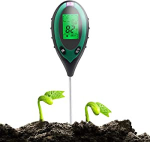 PAREIKO Soil Test Kit 4 in 1 Digital PH Meter for Soil with Sunlight/Moisture/Temperature Measuring Tester Tool for Garden Farm Lawn Indoor Outdoor (Battery no Included)