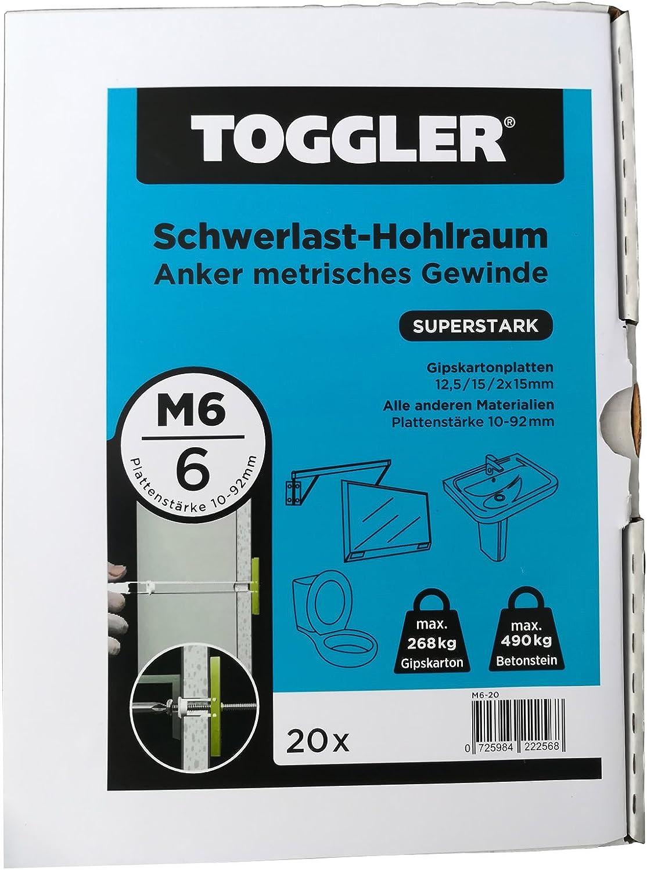 20 TOGGLER Hohlraumanker M6 10-92 mm Plattenst/ärke