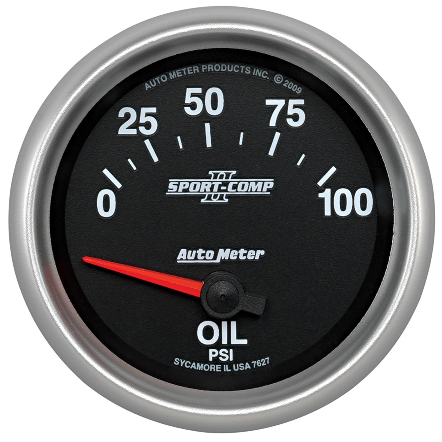 Auto Meter 7627 Sport-Comp II 2-5//8 0-100 PSI Short Sweep Electric Oil Pressure Gauge
