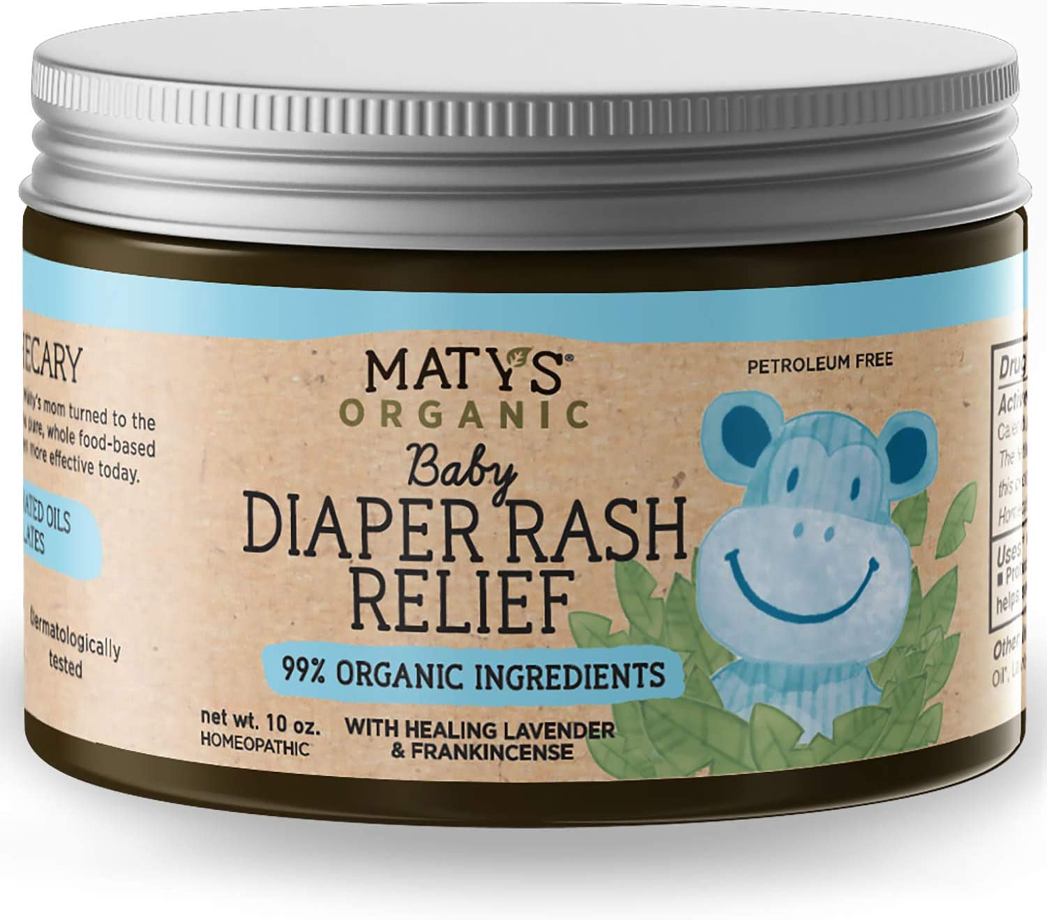 Maty's Organic Baby Diaper Rash Relief, Heals with Lavender, Aloe & Zinc, 10 Ounce
