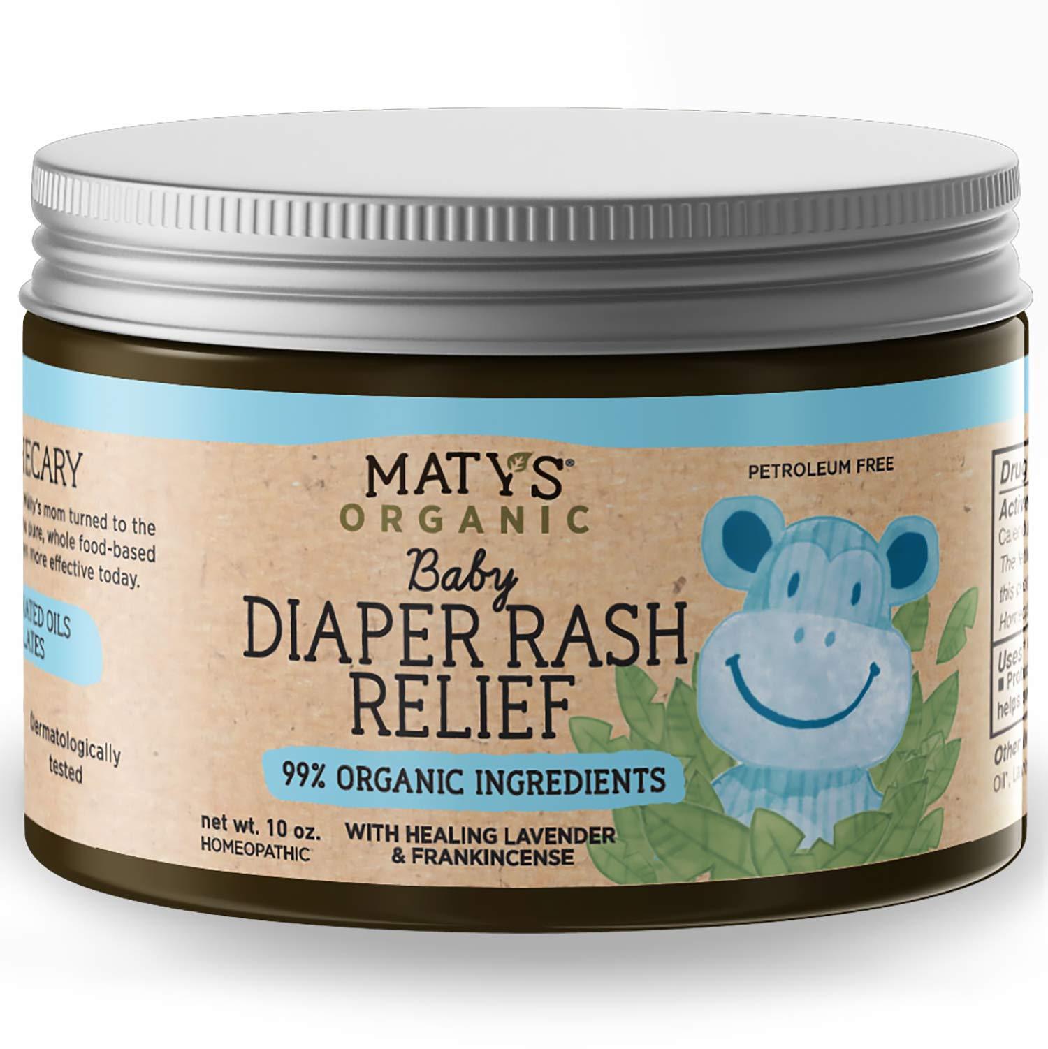 Maty's Organic Baby Diaper Rash Relief, Heals with Lavender, Aloe & Zinc, 10 Ounce by Matys