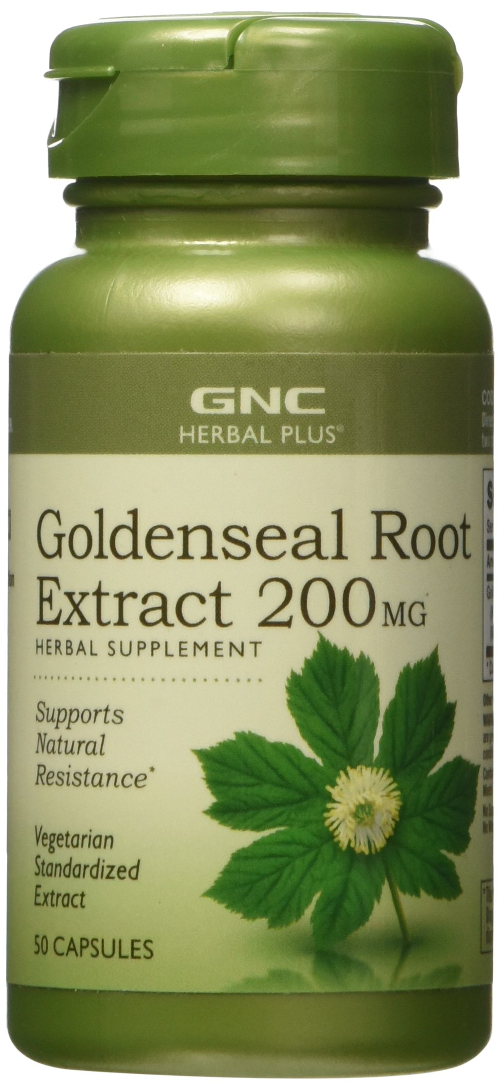 GNC Herbal Plus Goldenseal Root Extract 200mg, 50 Capsules, Supports Natural Resistance