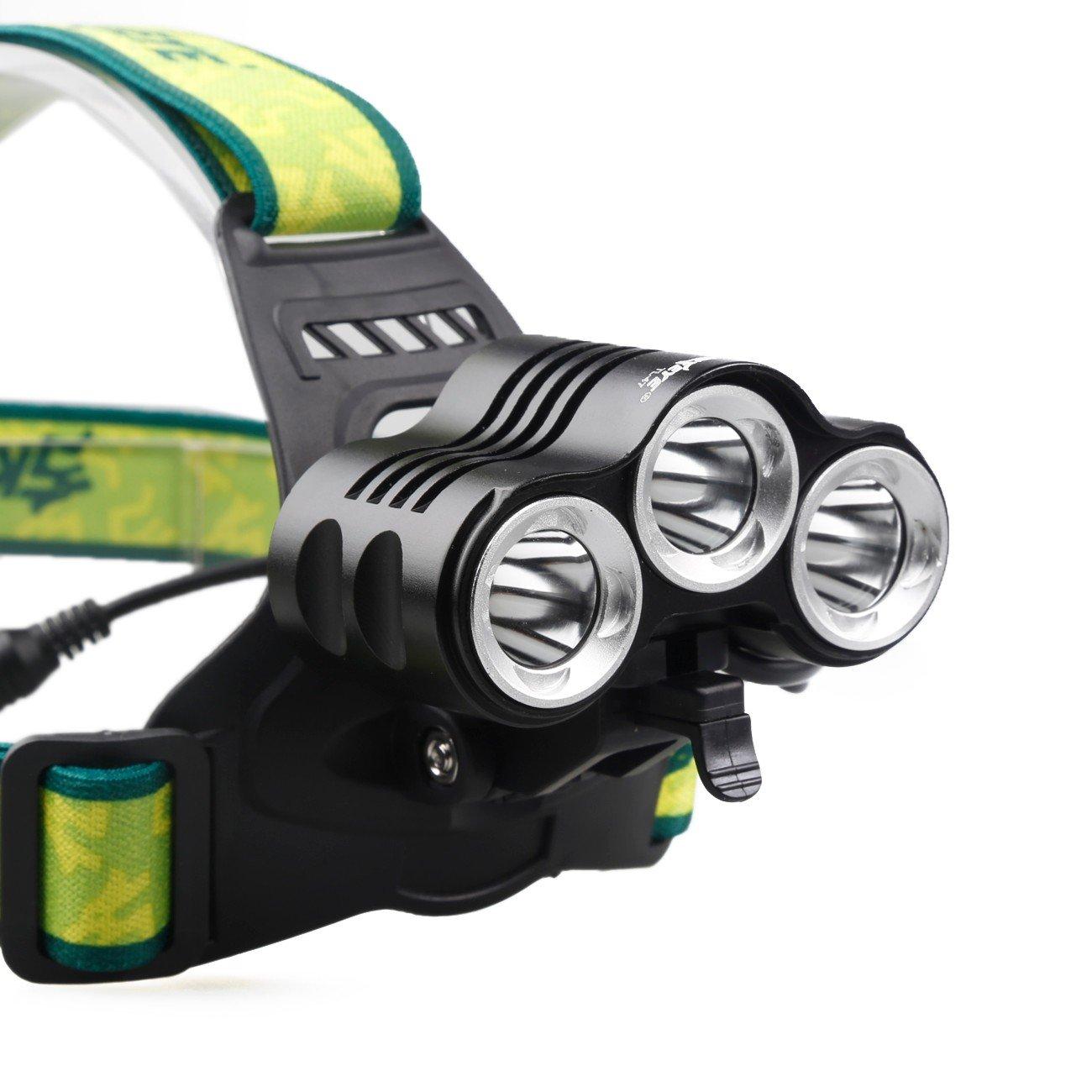 Carrera Excursi/ón Ciclismo Pesca Linterna L/ámpara Frontal Heligen Flashlight Garant/ía de Producto 4Modes 6000Lm 3X XML T6+2R5 LED Headlamp Head Light Torch USB 18650+Car Charger Para Camping Caza