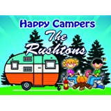 Camping SignCampground Welcome Sign Featuring Campfire With Couple Roasting Marshmallows Retro Trailer