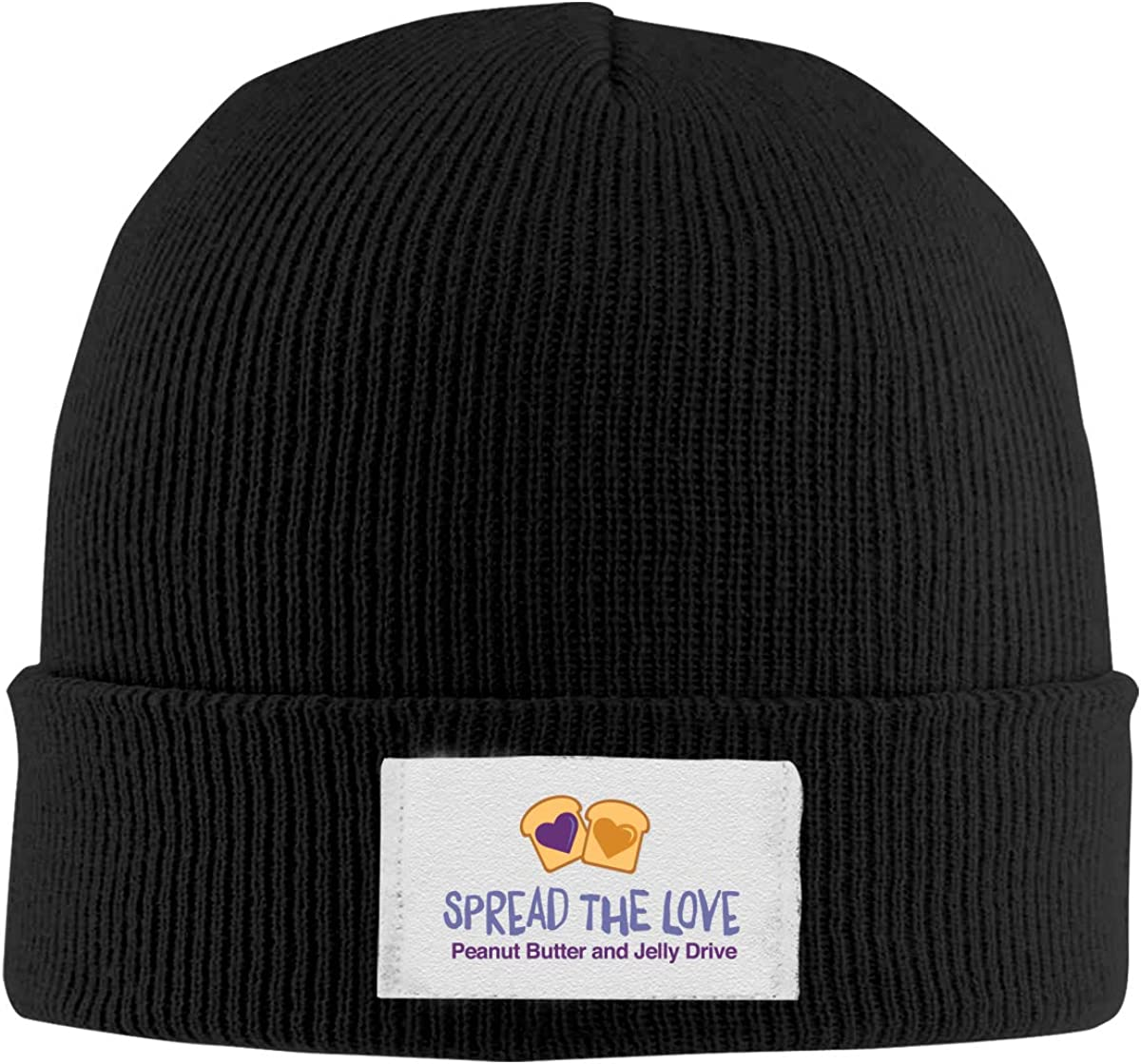 Stretchy Cuff Beanie Hat Black Skull Caps Peanut Butter and Jelly Winter Warm Knit Hats