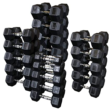 amazon com troy barbell rubber hex dumbbell sets 5 lb incrementstroy barbell usa sports rubber hex dumbbell sets hd r rubber dumbbells 5