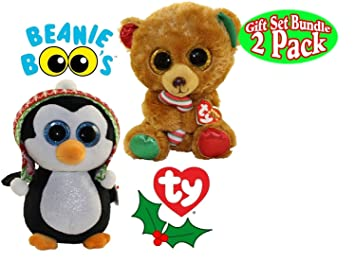 Amazon.com  TY Beanie Boo BELLA (Brown Bear)   PENELOPE (Penguin ... 7716404e1cfc
