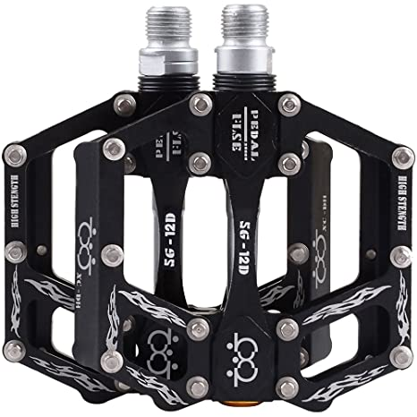 2X Mountain Bike Pedals Flat Platform Aluminum Alloy Sealed Bearing Pedals