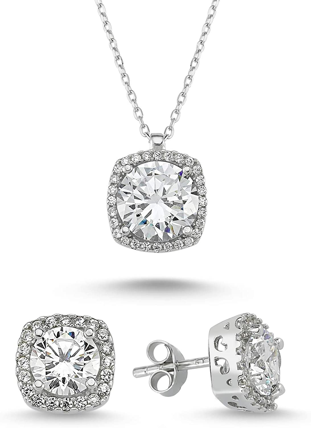 Starlight Diamond Women's Jewelry Sets - 925 Sterling Silver Plated Earring and Necklace Set - Lightweight Square Zircon Diamond Jewelry Sets with Gift Box for Birthday