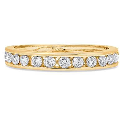 0.3ct Round Cut Stackable Bridal Wedding Petite Anniversary Band 14k Yellow Gold