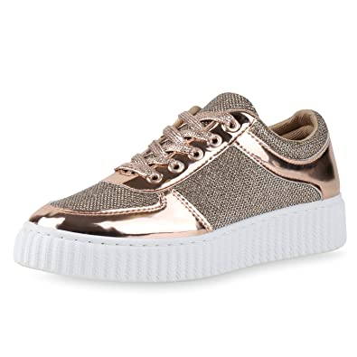 huge selection of 79e14 76ad1 SCARPE VITA Damen Plateau Sneaker Lack Glitzer