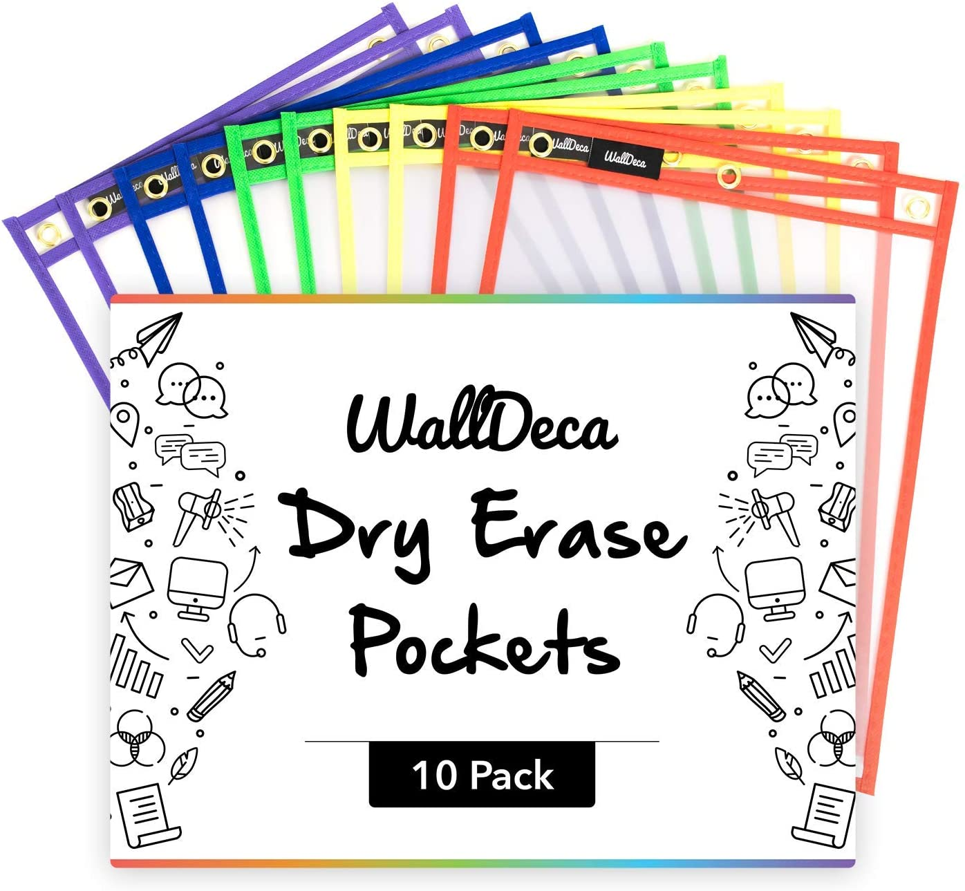 """WallDeca Dry Erase Pocket Sleeves Assorted Colors (10-Pack), 8.5"""" x 11"""" Job Ticket Holders, Reusable Dry Erase Sleeves"""