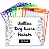 "WallDeca Dry Erase Pocket Sleeves Assorted Colors (10-Pack), 8.5"" x 11"" Job Ticket Holders, Reusable Dry Erase Sleeves"