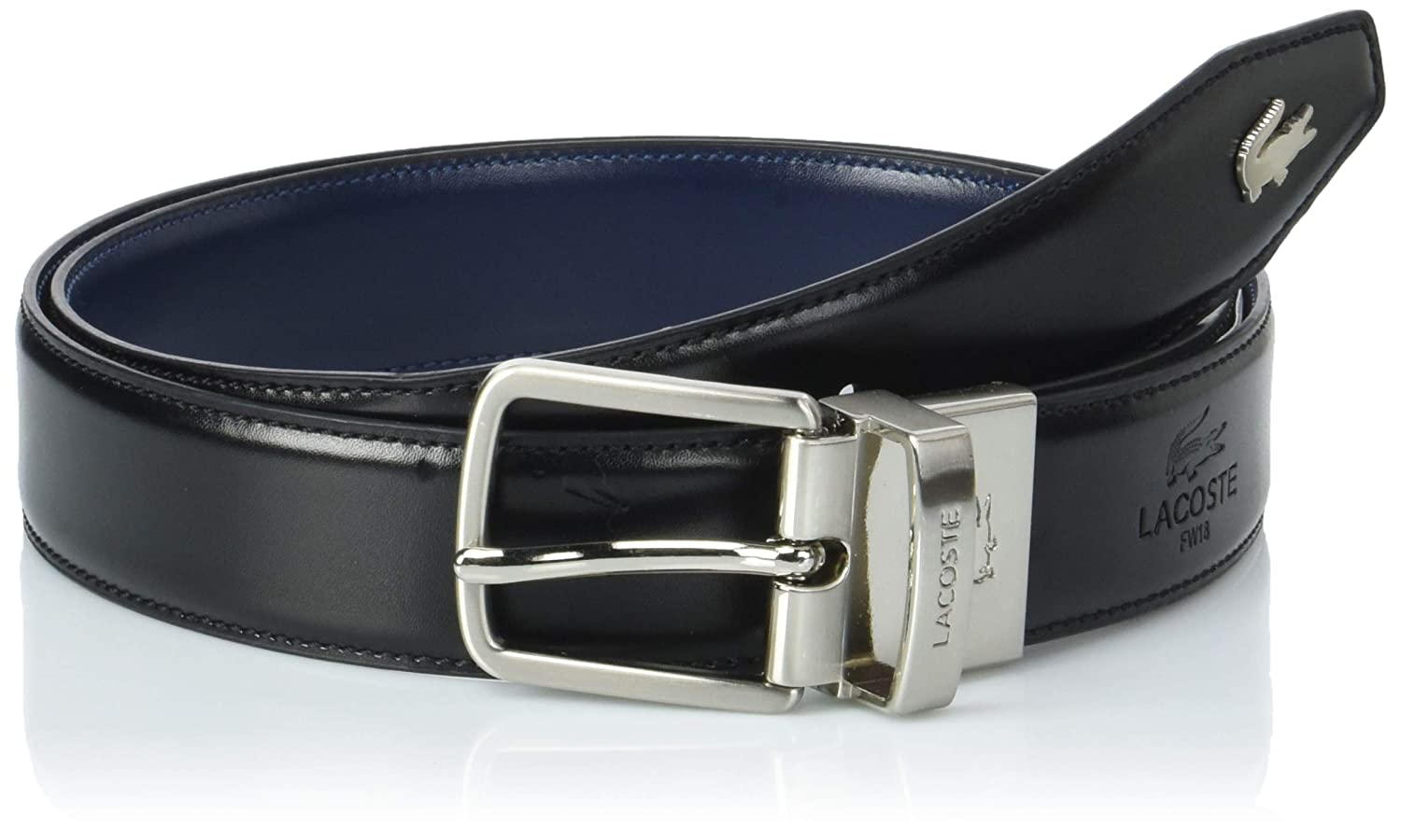415bd085ca Lacoste Men's Engraved Tongue Reversible Belt Black in size 110 cm ...