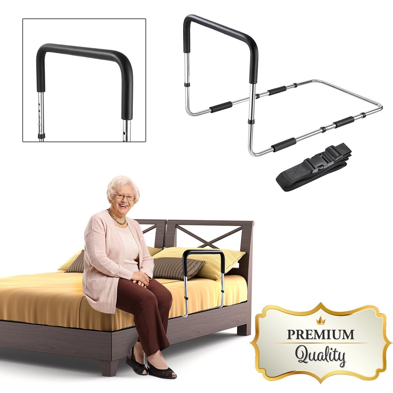 GC Global Direct Adjustable Height Home Bed Rail Handle Safety Assist Bar Grab Medical Supply (No Pocket)