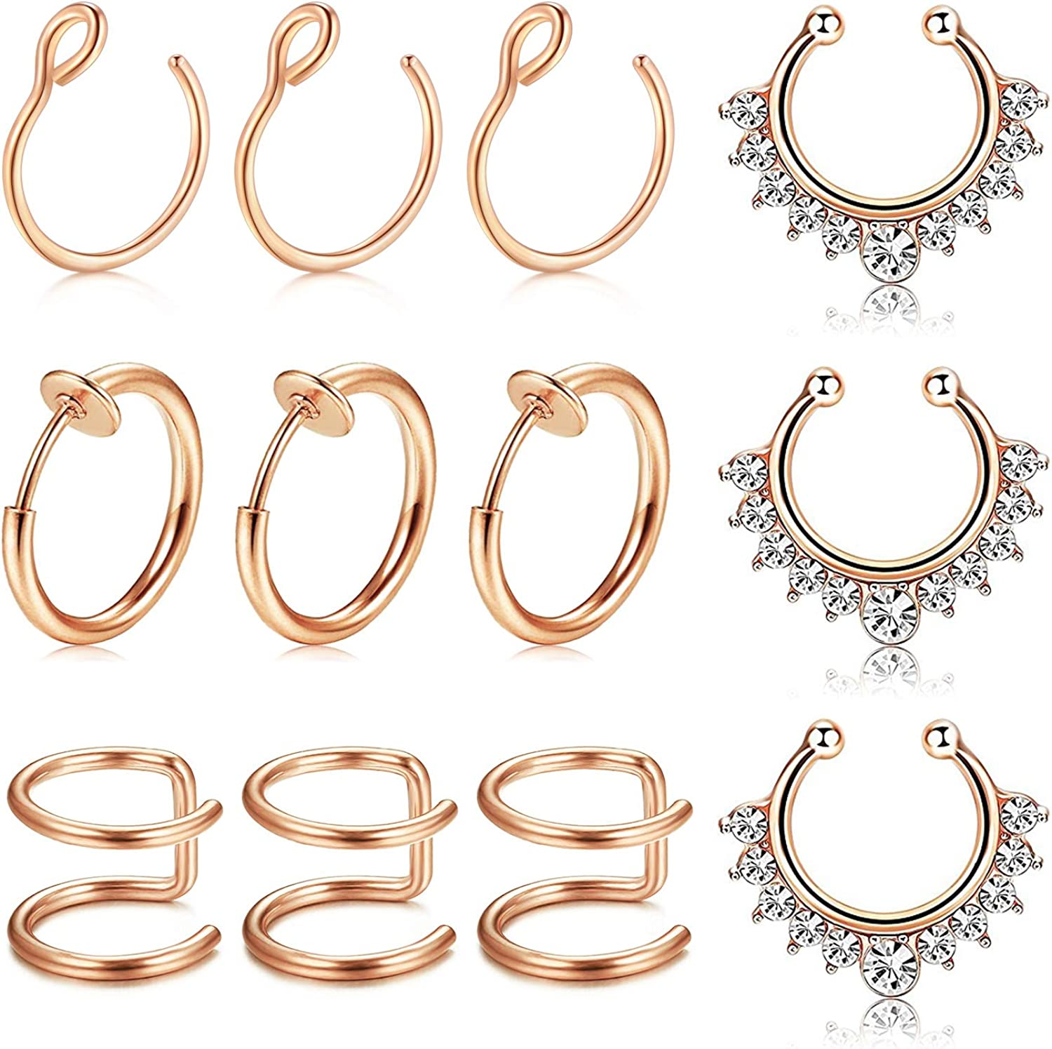 Fake Nose Ring Gold Red Faux Septum Ring Non Pierced Jewelry