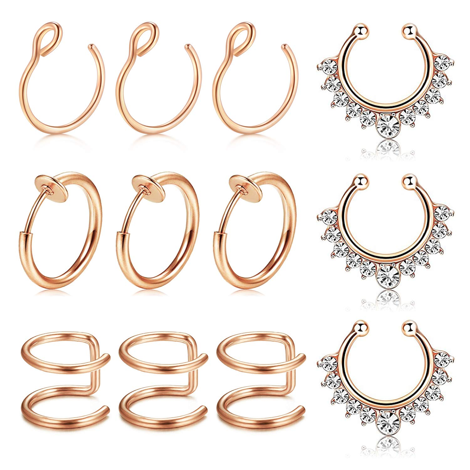 Body Piercing Jewellery Stainless Steel Nose Ring Without Hole C