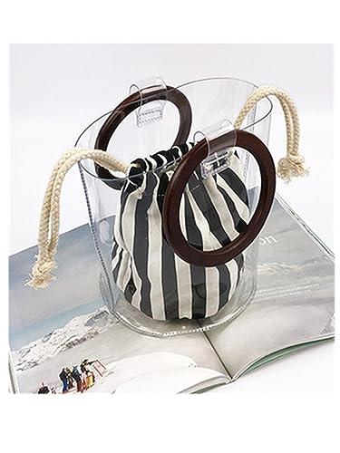 Amazoncom Clear Pvc Women Handbag Wood Round Handle Bucket Fashion