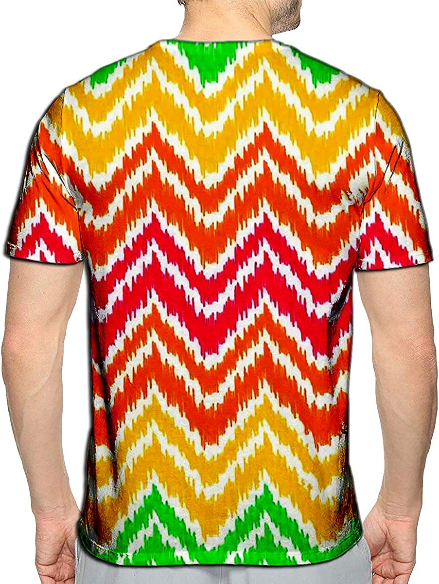 3D Printed T-Shirts Colorful Ikat Middle East Traditional Silk Fabric Chevron Zi